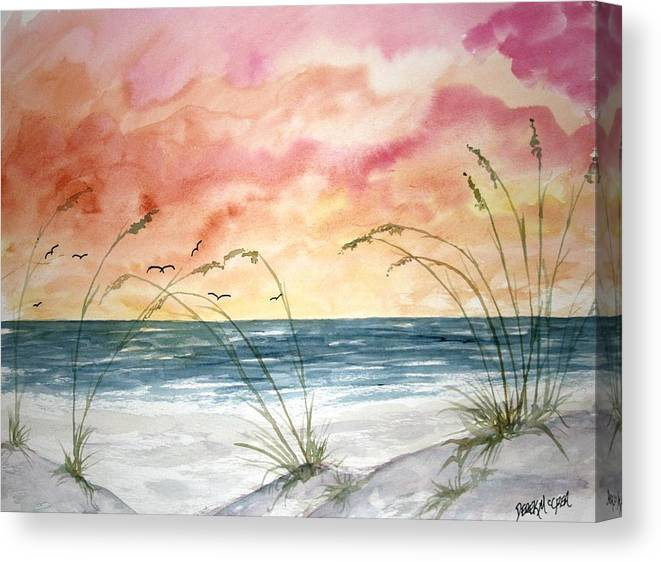 Abstract Canvas Print featuring the painting Abstract Beach Painting by Derek Mccrea