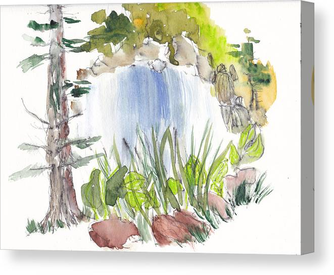 Waterfall Painting Canvas Print featuring the painting Alison's Waterfall by B L Qualls