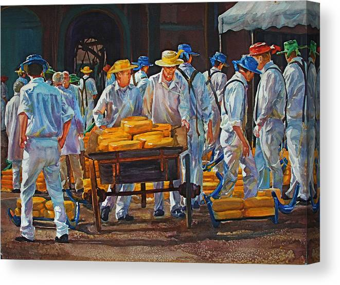 Figures Canvas Print featuring the painting Alkmaar Market by Carolyn Epperly