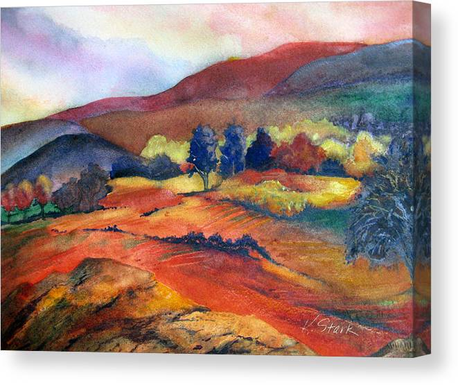 Landscape Canvas Print featuring the painting Autumn in the Country by Karen Stark