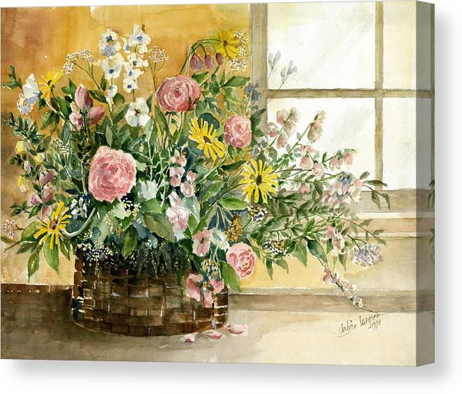 Basket Canvas Print featuring the painting Basket Bouquet by Arline Wagner