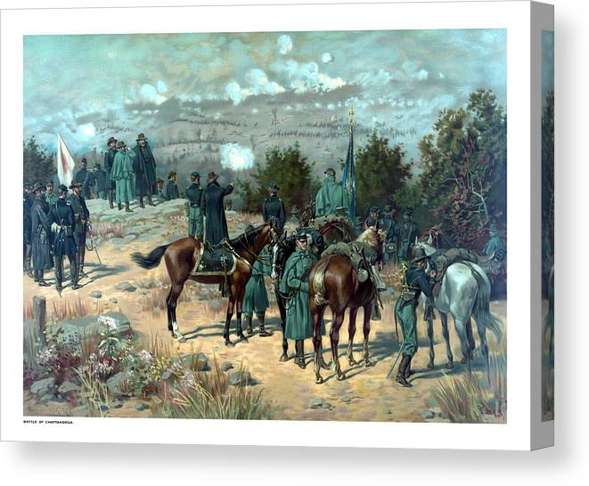Missionary Ridge Canvas Print featuring the painting Battle Of Chattanooga by War Is Hell Store