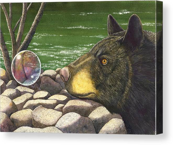 Black Bear Canvas Print featuring the painting Bear bubble by Catherine G McElroy