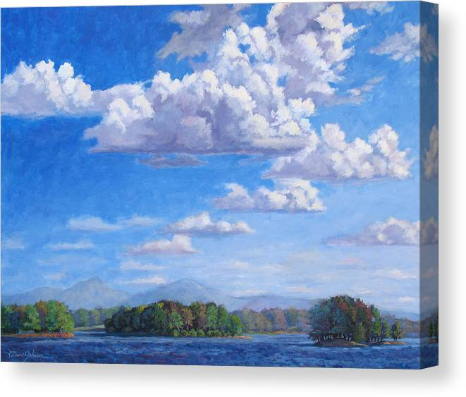 Smith Mountain Lake Canvas Print featuring the painting Beyond The Lake by L Diane Johnson