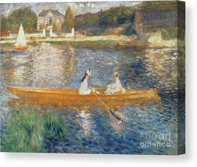 Boating On The Seine Canvas Print featuring the painting Boating on the Seine by Pierre Auguste Renoir