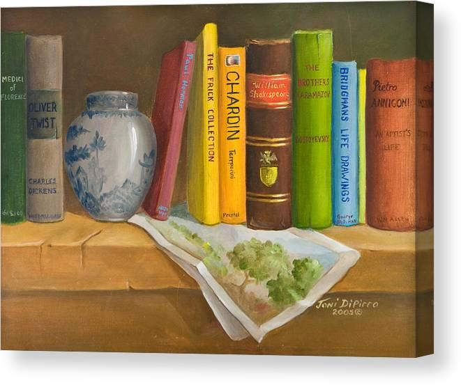 Book Canvas Print featuring the painting Bookshelf by Joni Dipirro