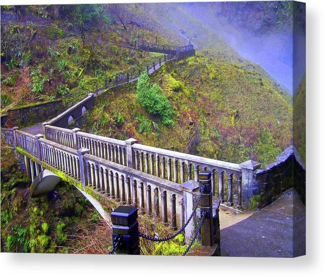 Bridge Canvas Print featuring the photograph Bridge at Multnomah Falls by Lisa Rose Musselwhite