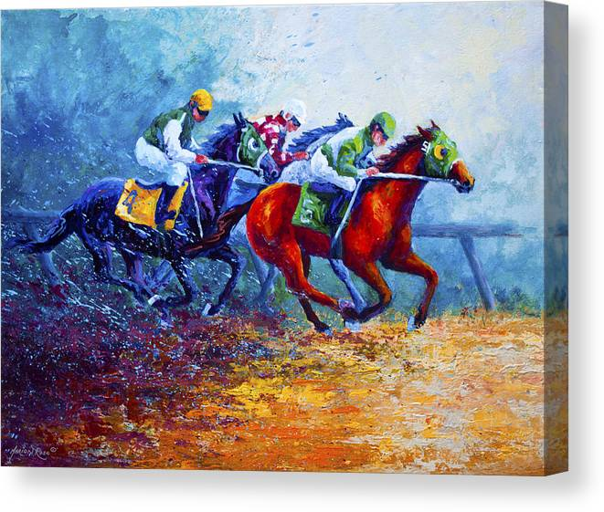 Horse Canvas Print featuring the painting By A Neck by Marion Rose
