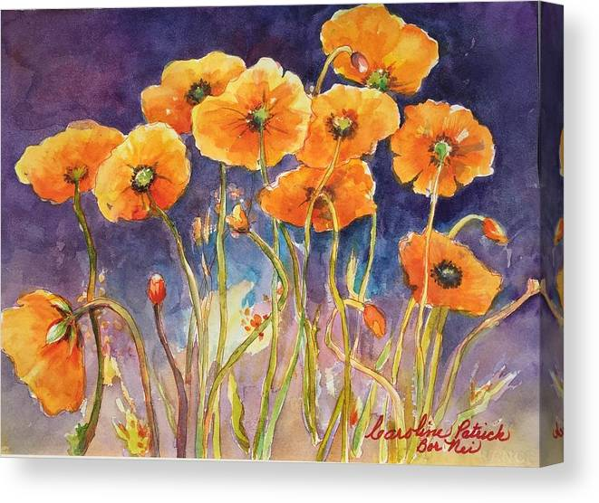 Poppies Canvas Print featuring the painting Catching The Light by Caroline Patrick