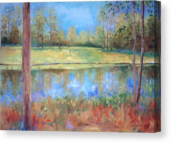 Ponds Canvas Print featuring the painting Cherry Moon Pond by Ginger Concepcion