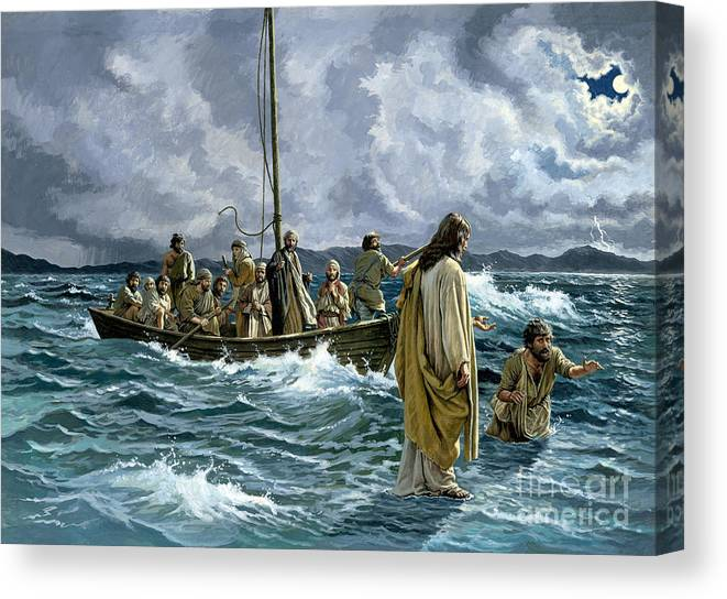 Christ Canvas Print featuring the painting Christ walking on the Sea of Galilee by English School