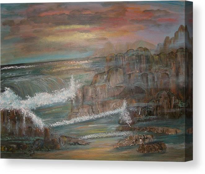 Seascape Canvas Print featuring the painting Coastal Brillancy by Mikki Alhart