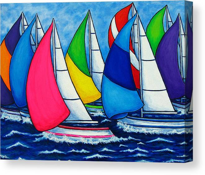 Boats Canvas Print featuring the painting Colourful Regatta by Lisa Lorenz