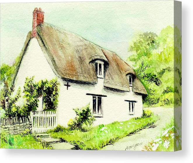 Country Canvas Print featuring the painting Country Cottage England by Morgan Fitzsimons