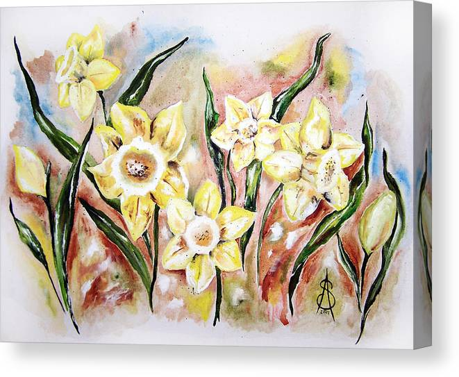 Floral Canvas Print featuring the painting Daffodil Drama by Amanda Sanford