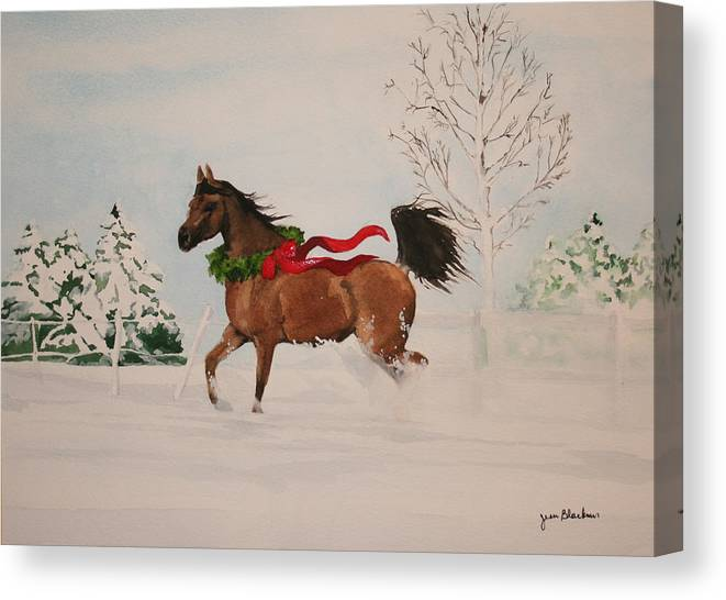 Horse Canvas Print featuring the painting Dashing Thru The Snow by Jean Blackmer