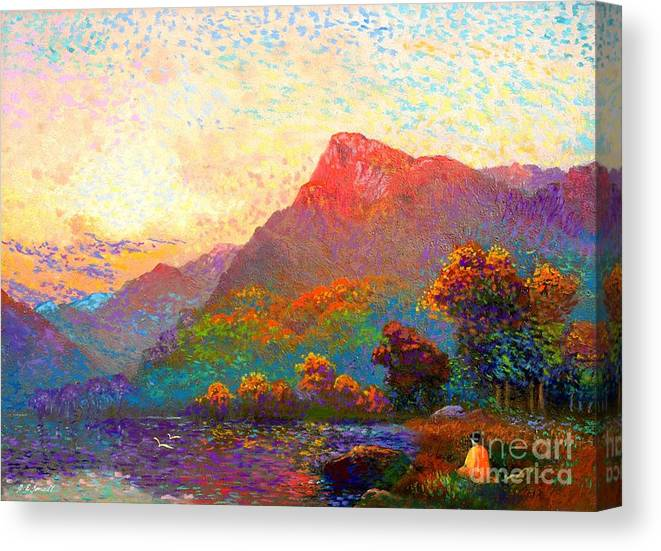 Meditation Canvas Print featuring the painting Buddha Meditation, Divine Light by Jane Small