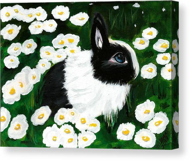 Dutch Bunny Daisies Acrylic Painting Black White Spring Easter Rabbit Impressionism Canvas Print featuring the painting Dutch Bunny With Daisies by Monica Resinger