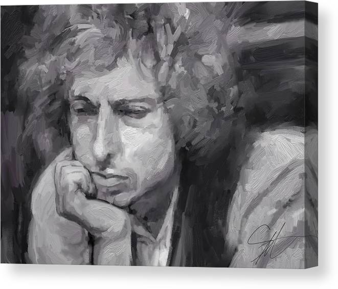 Bob Dylan Music Portrait Musician Rock Canvas Print featuring the digital art Dylan by Scott Waters