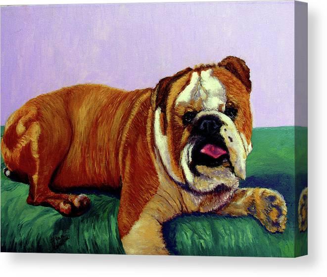 Bulldog Canvas Print featuring the painting English Bulldog by Stan Hamilton