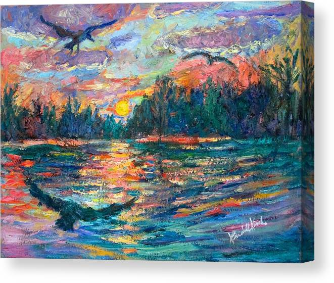Landscape Canvas Print featuring the painting Evening Flight by Kendall Kessler