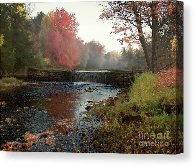 Foggy Fall Morning Canvas Print featuring the photograph Fall at Griffin Mill by Diana Nault