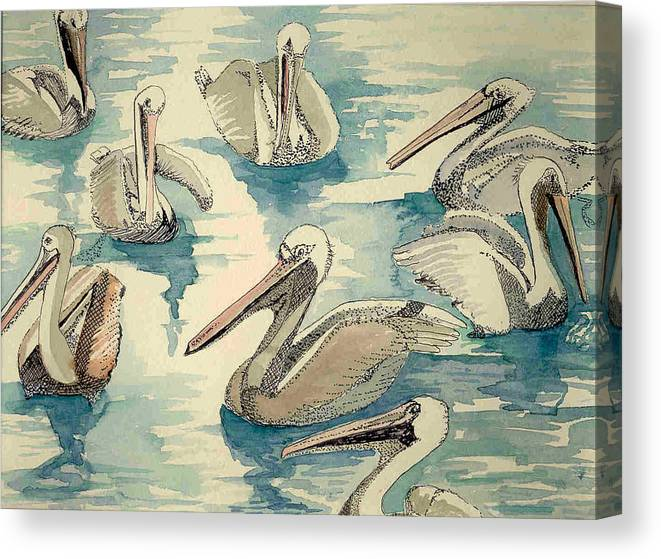 Pelicans Canvas Print featuring the painting Feeding Pelicans by Rebecca Marona