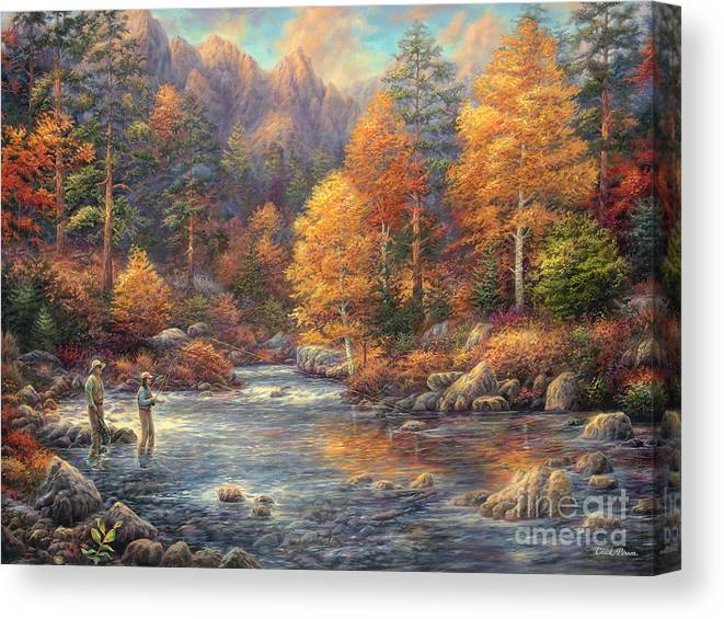 Fly Fishing Canvas Print featuring the painting Fly Fishing Legacy by Chuck Pinson