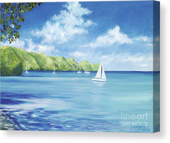 Nautical Seascape Canvas Print featuring the painting Friendship Bay by Danielle Perry