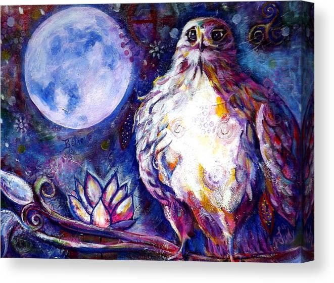Goddess Canvas Print featuring the painting Goddes Hawk by Goddess Rockstar