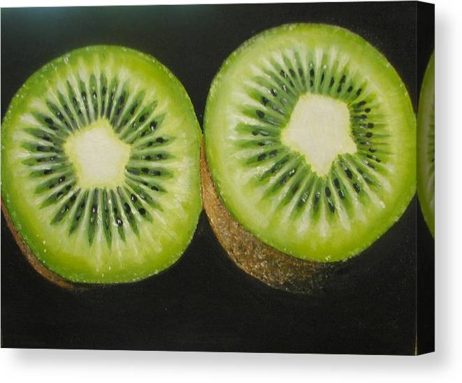 Kiwi Canvas Print featuring the painting Green kiwi oil painting by Natalja Picugina