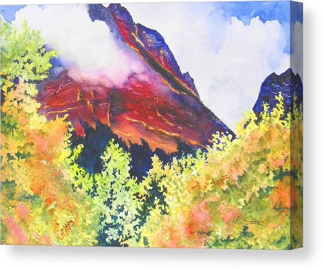 Mountain Canvas Print featuring the painting Heights of Glacier Park by Karen Stark