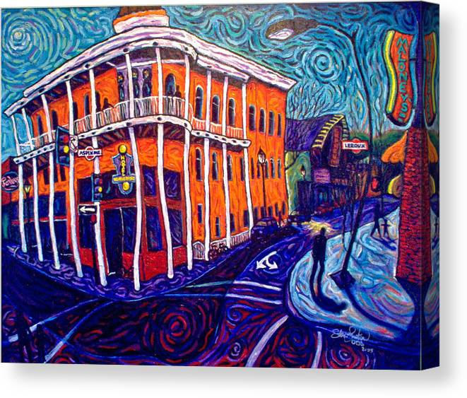 Historic Canvas Print featuring the painting Historic Hotel Weatherford by Steve Lawton