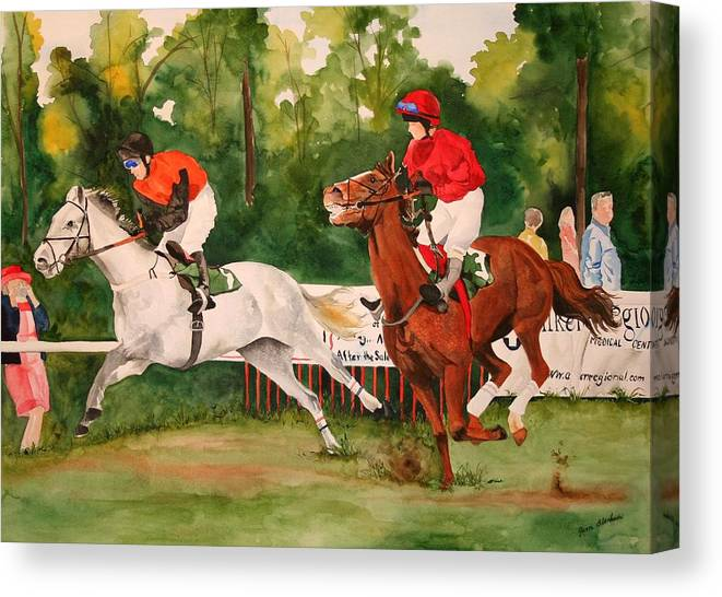 Racing Canvas Print featuring the painting Homestretch by Jean Blackmer