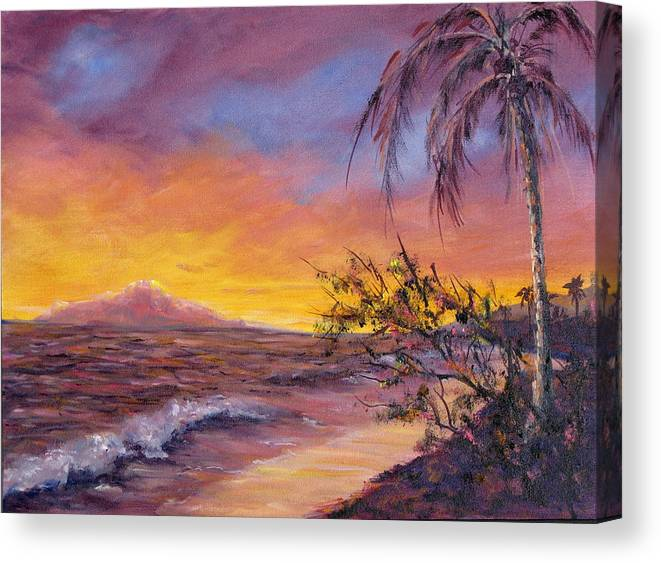 Sea Scape Canvas Print featuring the painting Island Sunset by Thomas Restifo