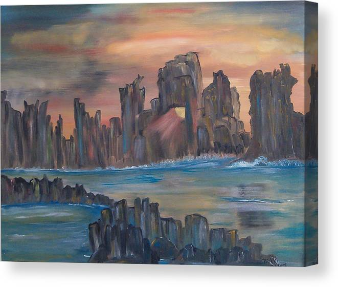 Abstract/landscape Canvas Print featuring the painting Jagged Beauty by Mikki Alhart