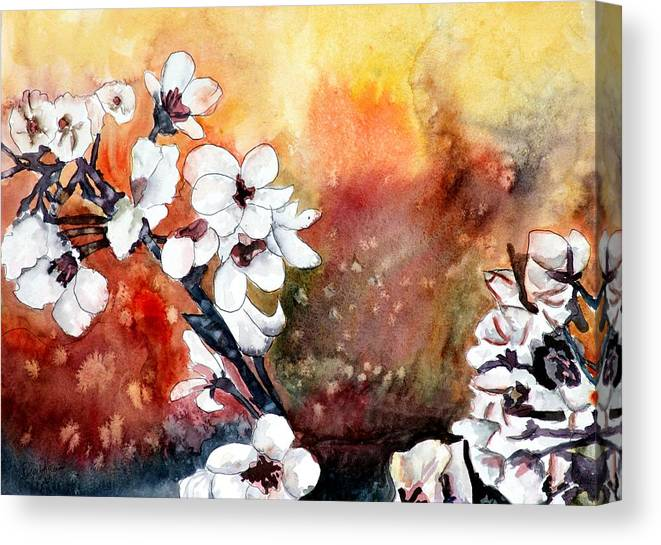 Watercolor Canvas Print featuring the painting Japanese cherry blossom abstract flowers by Derek Mccrea