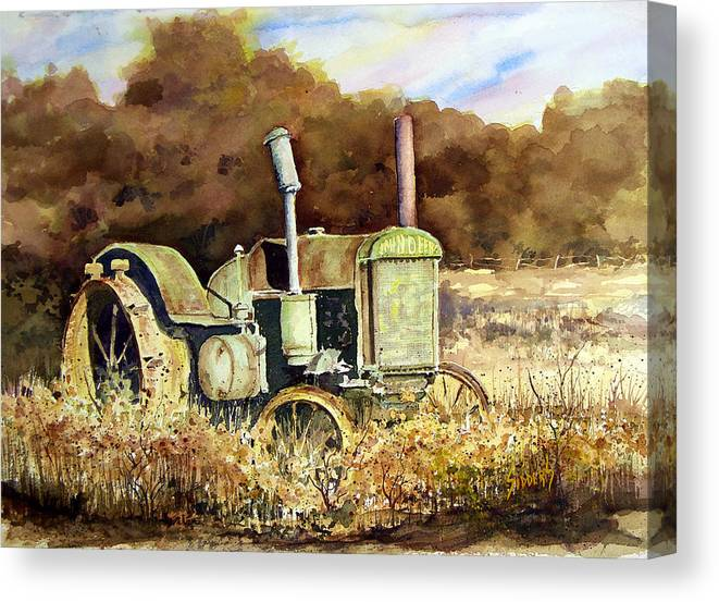 Tractor Canvas Print featuring the painting Johnny Popper by Sam Sidders