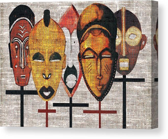 African Masks Canvas Print featuring the digital art Kabila Masks by Regina Wyatt
