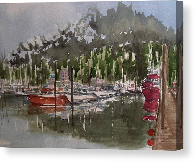 Marina Canvas Print featuring the painting Ketchican Marina by Pete Maier