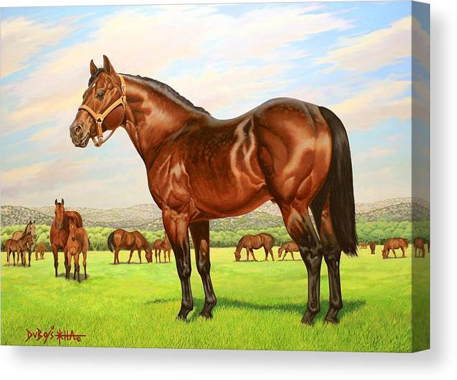 Quarter Horse Canvas Print featuring the painting King P-234 No.two by Howard Dubois
