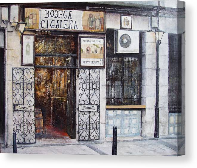 Bodega Canvas Print featuring the painting La Cigalena Old Restaurant by Tomas Castano