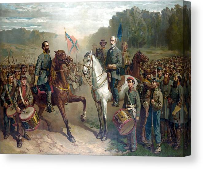Robert E Lee Canvas Print featuring the painting Last Meeting Of Lee And Jackson by War Is Hell Store