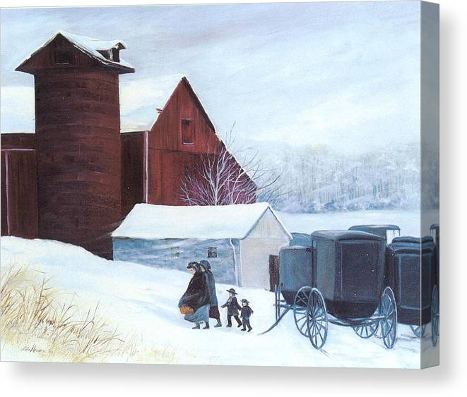 Amish;barn;buggies;winter;snow; Canvas Print featuring the print Late Arrivals by Lois Mountz