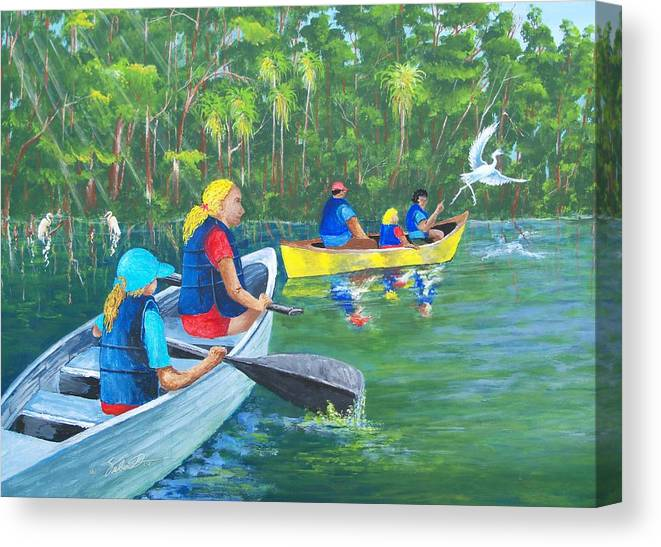 Water Canvas Print featuring the painting Lazy River by Dennis Vebert