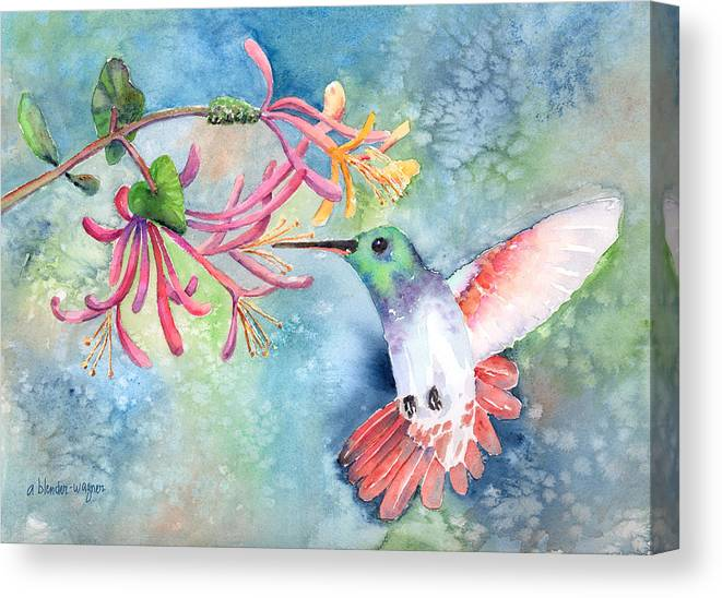Bird Canvas Print featuring the painting Little Hummingbird by Arline Wagner