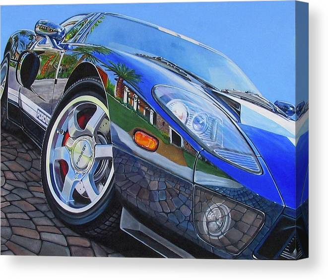 Car Canvas Print featuring the painting Love On The Rocks by Lynn Masters