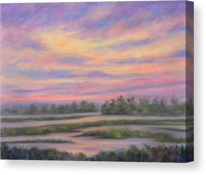 Low Country Canvas Print featuring the painting Low Country Marsh Sunset by Jeff Pittman