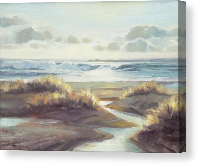 Ocean Canvas Print featuring the painting Low Tide by Steve Henderson