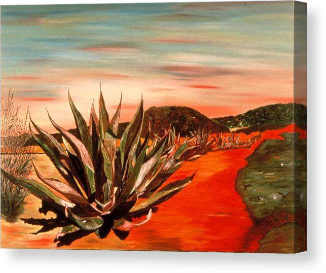Landscape Canvas Print featuring the painting Magueys at Sunset by Oudi Arroni